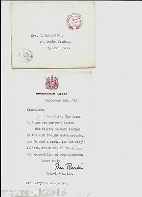 Gb Royalty Cover 1951 + Letter From Lady In Waiting.