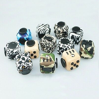 New pattern Fidget Cube stress relief office gift toy anxiety Wood animal print