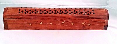 "NEW COFFIN BOX  incense burner for sticks and cones12"" wood Hand carved"