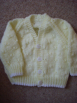 "Baby's Lemon Hand Knitted Cardigan 0- 3 months 16 "" Chest BN"