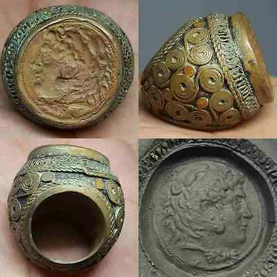 Rare Old Carving intaglio Alaxander Face Giant Ring #H1