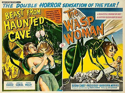 """The Wasp Women / Beast hunted Cave 16"""" x 12"""" Repro Movie Poster Photograph"""