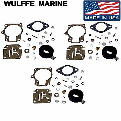 3 Pack Carburetor Carb Kits WITH FLOATS Johnson Evinrude 65 70 75 hp Rpl 18-7222