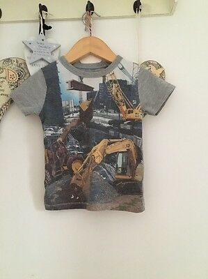 Boys Short Sleeved Construction Pattern Top From Next Age 12-18 Months