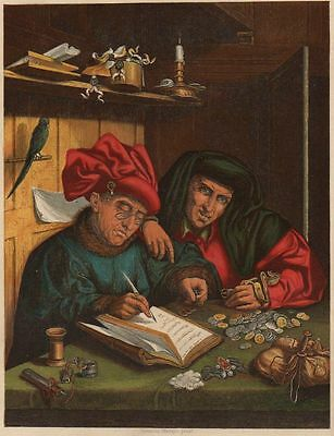"""Antique Coloured Print,by W.dickes """"the Misers"""" By Quentin Matsys"""