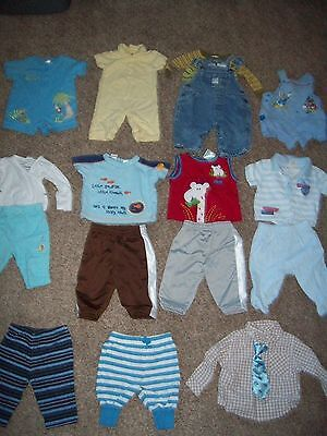 Lot 16 Piece Baby Boy Clothes Size 0 to 3 Months Shirts Pants Sweats Overalls