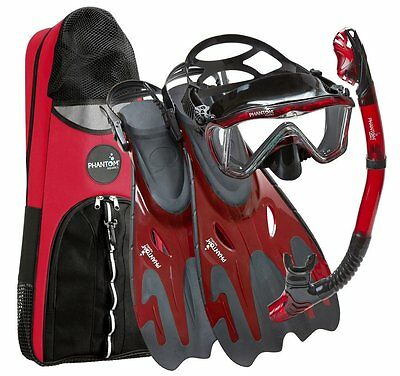 New Red Snorkel Set Mask Snorkelling Diving Scuba Full Adult Dive Fins Gear Kit