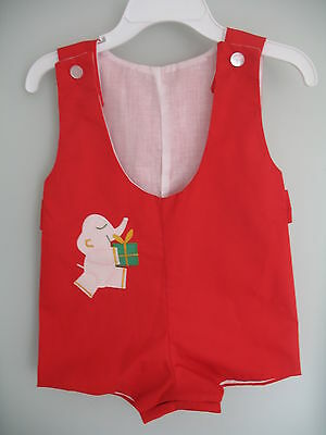 Boy's Vintage Red Elephant Christmas Romper - Size 3 to 6 Months