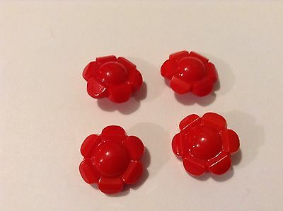 4 Red Glass Flower Old/vintage Collectable Buttons. FREE UK POSTAGE