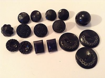 16 Black Mixed Patterned Old/vintage Buttons. FREE UK POSTAGE