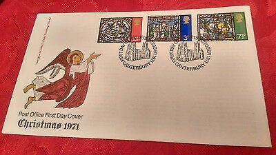 Post Office First Day Cover - Christmas 1971 - Canterbury