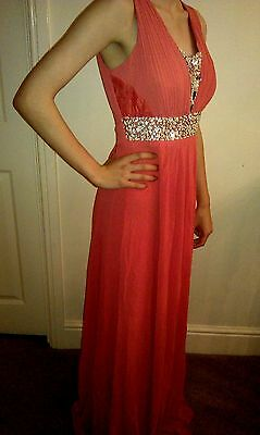 NEW Stunning PROM / EVENING / BRIDESMAID DRESS Long Elegant Deep Coral 12-14