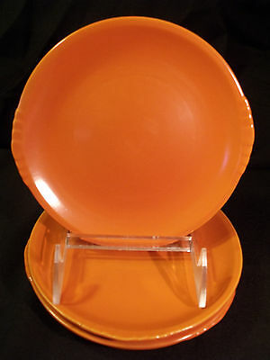 Paden City Pottery Caliente Shell Crest Tangerine Red Bread Plate set of 4