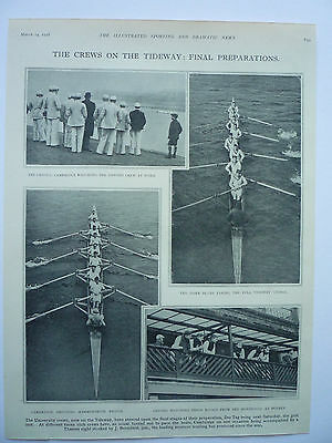 """.the Boat Race """" The Crews On The Tideway: Final Preparations."""" 1928 Rare."""