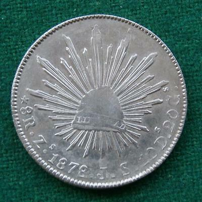 1878 MEXICO SILVER  8 Reales  Coin Zs JS Caps & rays