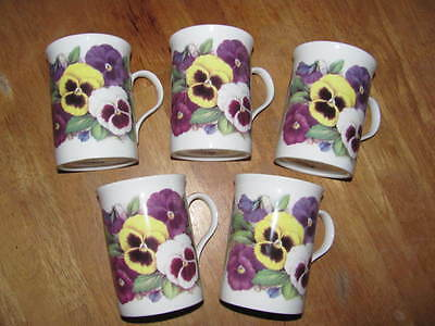 Crown Trent Bone China Limited Pansy Floral Pansies 5 Mugs D Hague England EUC!