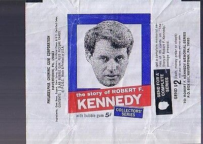 1968 Philadelphia Robert F. Kennedy Wax Card Pack Wrapper Rare Collector's Item