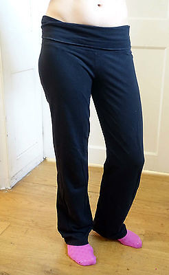 Black cotton-lycra-jersey maternity leggings. Under or over bump. Mothercare 10