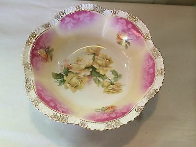 """R.S. Prussia ~ White, Pink & Yellow Rose Decorated ~ Bowl ~ Signed MINT 11"""" wide"""