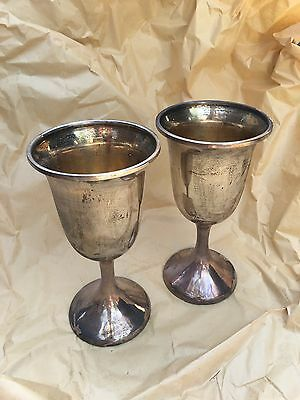Large Antique Silver-plated  Goblets