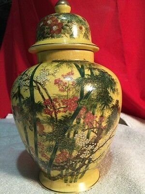 Antique Vintage Andrea by Sadek Floral Vase W/ Lid Ginger Jar Urn Japan GREEN NO