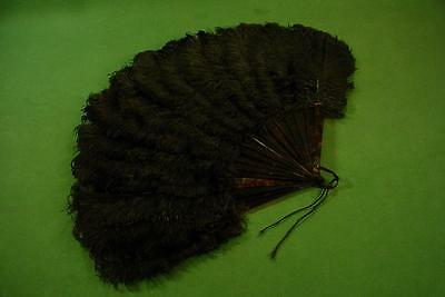 Antique Victorian Black Ostrich Feather Faux Tortoise Shell Hand Fan