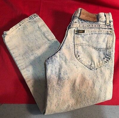 Vintage Lee Rider Acid Washed Straight Leg Jeans 26x23 Size 7 Husky Boy/Girls