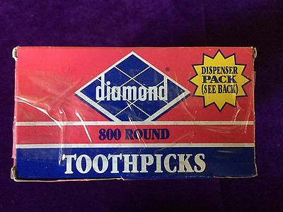 NEW Lot of 6 Diamond Toothpicks 800 Round Dispenser Packs 4800 Total Free Ship
