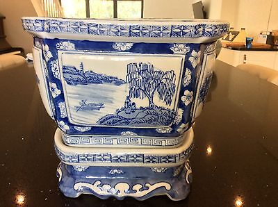 antique chinese blue and white planter with stand