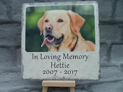 Personalised Pet Dog Metal Memorial Photo Plaque with text Indoor or Outdoor Use