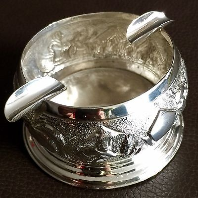 Marvellous Heavy Antique Oriental Solid Silver Ashtray In Perfect Condition