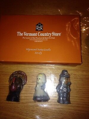 Set of 3 Vermont Country Store Thanksgiving Candles, Pilgrims and Turkey, New