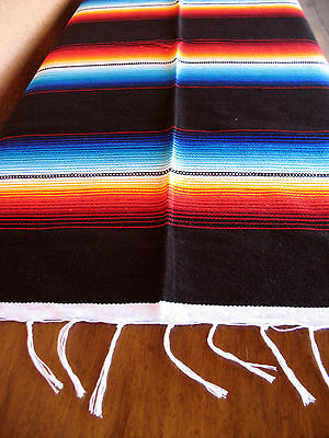 Serape ONWS-Black Blanket Table Cover Seat Cover Throw Mexican Design 5' X 7'