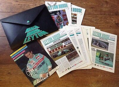 March Leyton House F1 Team Plastic Folder, 2 Magazines And Pile Of Race Reports