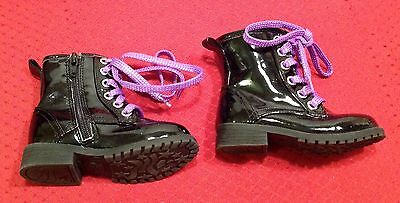 New Circo Black Shiny Fashion Combat Boots With Purple Shoelaces Toddlers Size 6