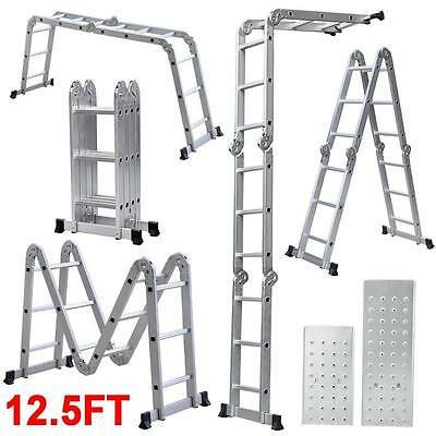 Multi Purpose Aluminum Ladder Folding Step Ladder Scaffold Extendable w/2 Plate