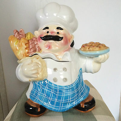Cookie Jar Chubby Pastry Chef Holding Bread Pie Blue Plaid Apron Ceramic