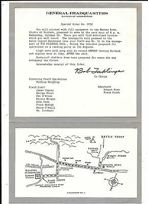 Fighting 69th Movie, special order for field operations Warner Bros. hand signed