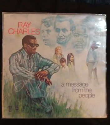 Ray Charles Autographed album cover (no vinyl) 1998