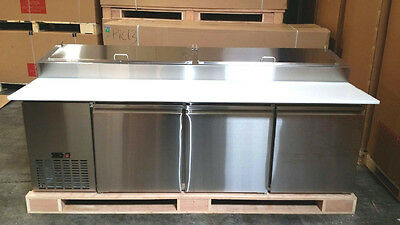 PICL3 - 3 Door Refrigerated Commercial Pizza Prep Table Refrigerator - STAINLESS