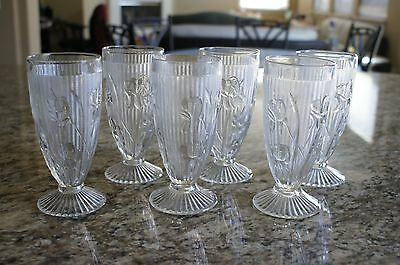 "Lot of 6 Jeanette Iris & Herringbone Footed 6"" Tumbler Goblet clear glass"