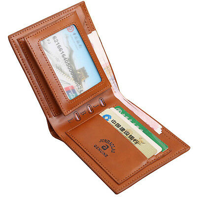 Men Billfold Leather Wallet Credit ID Card Holder Coin Purse Clutch Bifold Brown