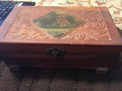 Antique Carved Wood Jewelry Trinket Cigar Box Old English Cottage Scene on Top