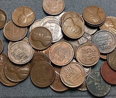 ROLL Mixed Dates & Mint (See Description) 1909-1958 Lincoln Wheat Cents/Pennies.