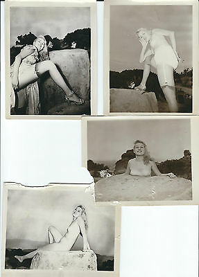 Vintage Nude Photo Lot Busty Blonde on Rock 1940s Pinup Erotica Outdoors