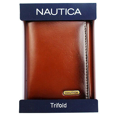 New Nautica Men's Leather Credit Card Id Wallet Trifold Tan