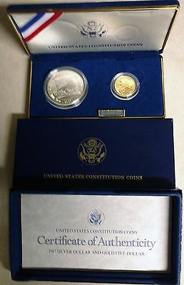 1987 U.S. Constitution coins WP $5 gold proof & $1 SF silver proof set w/COA