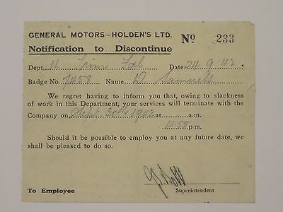 Vintage General Motor's Holden GMH Notification to Discontinue 1942 Very Rare!!