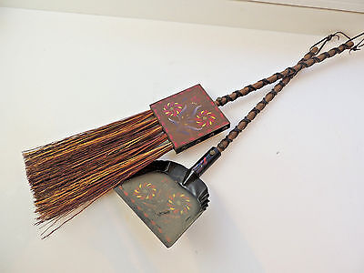 Vintage Toleware Painted & Leather Fireplace Coal Shovel And Broom Rare Find
