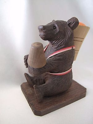 Hand Carved Black Forest Bear Holding Sewing Items/pin Cushion